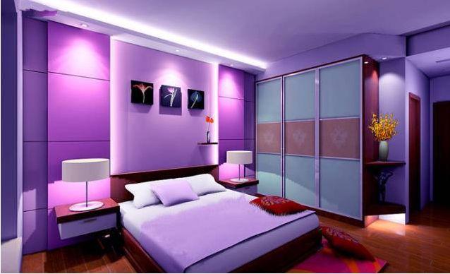 紫色系溫馨臥室33
