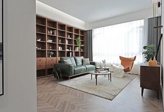 墨绿色皮质沙发+棕色皮质茶 现代简约风