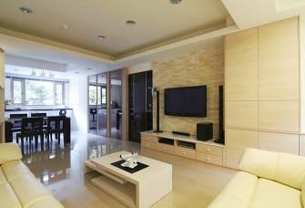 115平现代简约客厅电视墙装修效果图