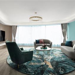 蒂芙尼藍色現代風客廳實景圖