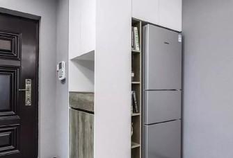 100平现代轻奢风,头一次见冰箱放玄关