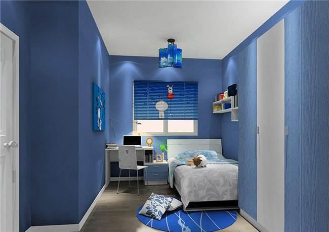 墻磚搭配以海藍色的櫥柜65