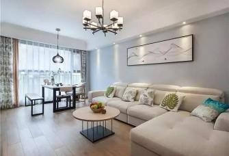 现代装修,米色沙发和原木色茶几好清新
