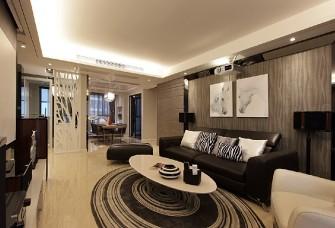 青島135平簡約裝修,咖啡色的空間設計