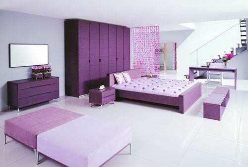 紫色系溫馨臥室51