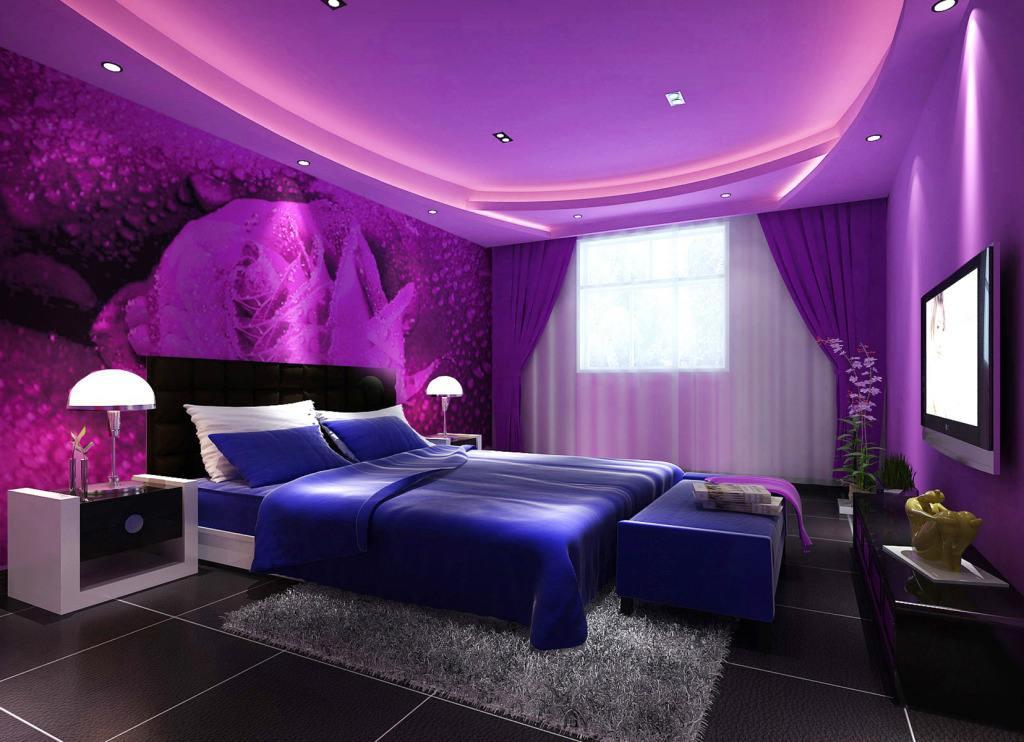 紫色系溫馨臥室41