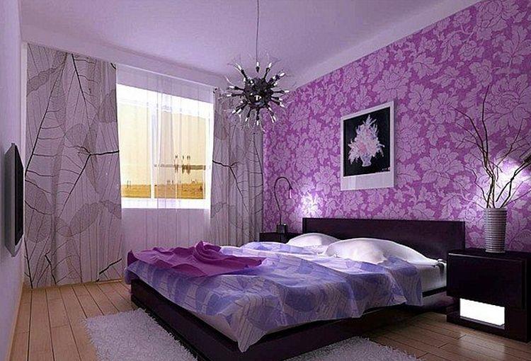 紫色系溫馨臥室65