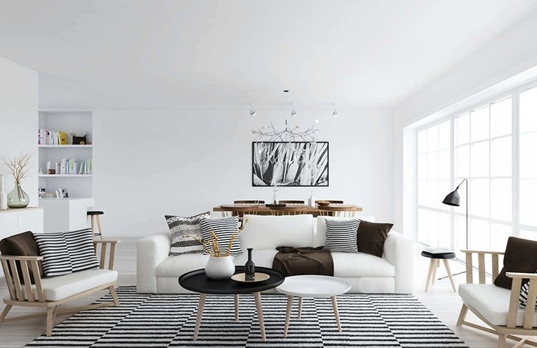 饱和明艳的色彩打造现代风格客厅