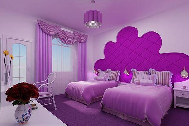 紫色系溫馨臥室73