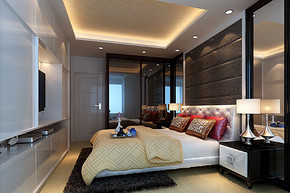 現代臥室床頭背景墻