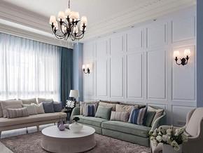 新古典風格客廳沙發背景裝修效果圖