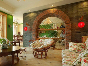 中式田园风格客厅背景墙装修效果图