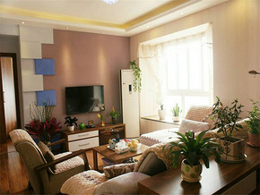 89㎡二居室簡約風格客廳電視背景墻裝修圖片
