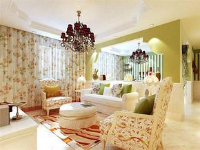 韓式風格三室一廳客廳沙發背景墻裝修效果圖