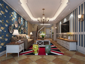 田园风格两室两厅室内装修效果图