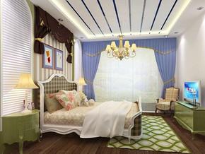 田园风格卧室吊顶吊灯装修效果图