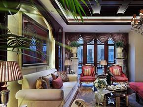 美式风格客厅沙发背景墙装修设计效果图