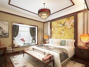 中式风格卧室背景墙装修效果图