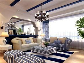 地中海風格客廳吊頂吊燈裝修效果圖