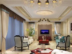 贵气奢华欧式客厅吊顶装修效果图