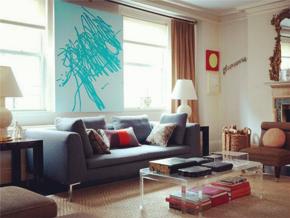 清爽現代風格客廳個性背景墻設計圖