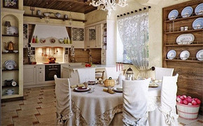 歐式田園風格開放式廚房裝修效果圖