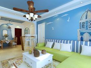 地中海風格客廳背景墻裝修效果圖