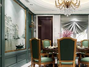 典雅新古典主義風格別墅餐廳設計裝修圖
