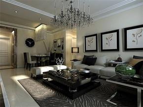 黑白现代简约风格客厅效果图