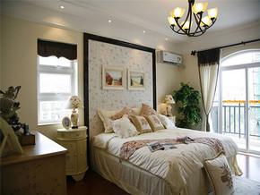 115m2三居室田園風格臥室床頭背景墻裝修圖片