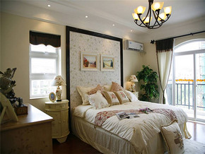 115m²三居室田园风格卧室床头背景墙装修图片
