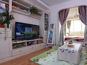 田园风格客厅电视柜装修效果图