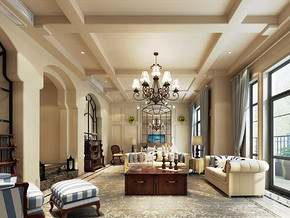 地中海风格客厅吊灯吊灯装修设计效果图