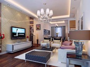 美式风格客厅吊灯吊顶装修效果图