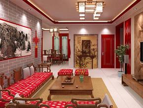 中式風格客廳背景墻裝修效果圖