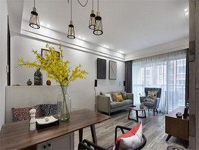 现代都市淡雅风格两室装修效果图
