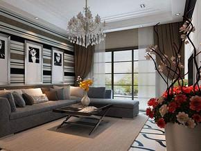 簡約現代風格客廳沙發背景墻裝修效果圖