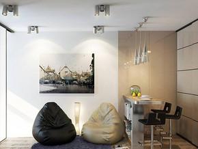 现代简约风格客厅吧台装修效果图