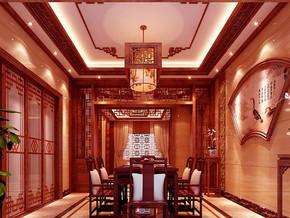 中式风格餐厅吊顶吊灯装修设计效果图