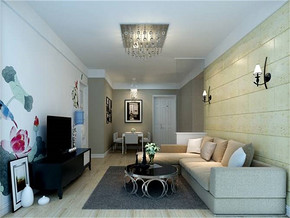 現代簡約室內客廳效果圖
