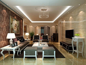 簡歐風格客廳背景墻裝修設計效果圖