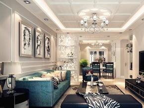 簡約歐式風格客廳雕花隔斷裝修效果圖