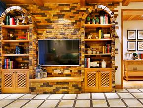 130平法式風格四居石材電視背景墻