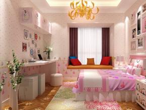 粉色系現代女生房間裝修效果圖