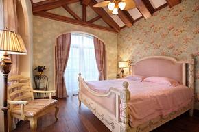 田园风格卧室窗帘效果图