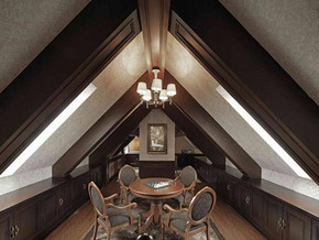 美式风格餐厅吊顶吊灯装修效果图