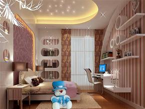 110平簡歐風格兒童房背景墻裝修效果圖