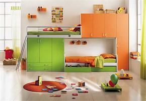 现代风格双胞胎卧室装修效果图