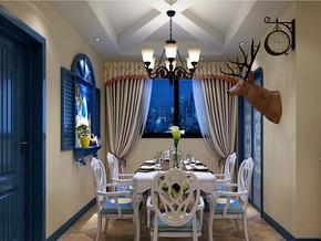 地中海餐厅吊顶吊灯装修效果图