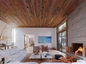 混搭风格温暖客厅木质吊顶效果图